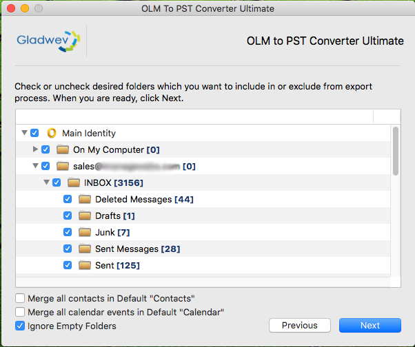 Export OLM to PST